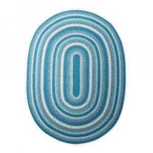 54″x54″ Braided Circle Area Rug Blue