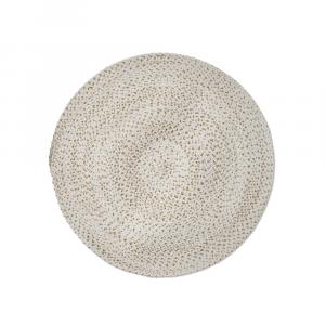 "36"" Braided Circle Area Rug White"