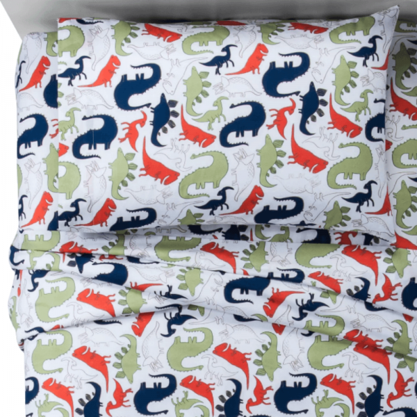 Colored Dinos 100% Cotton Twin sheets