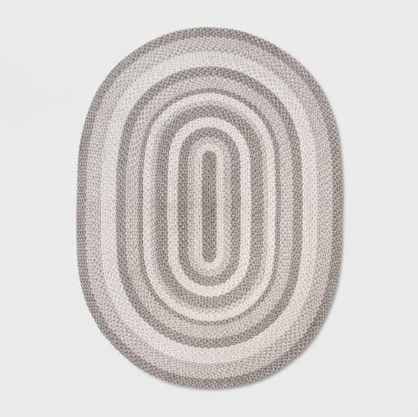 """54""""x54"""" Braided Circle Area Rug Grey"""
