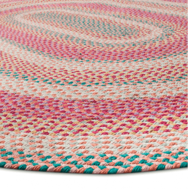 "54""x54"" Braided Circle Area Rug Pink"